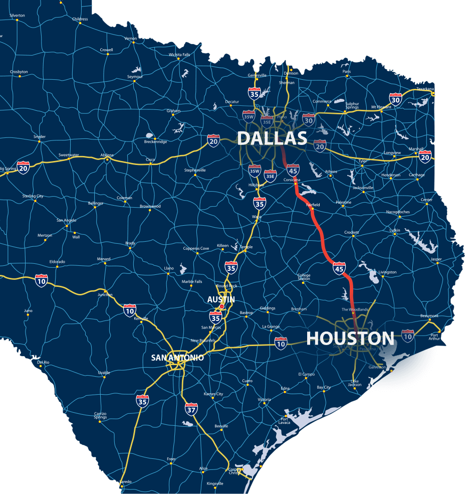 Map of Houston to Dallas with highlighted road
