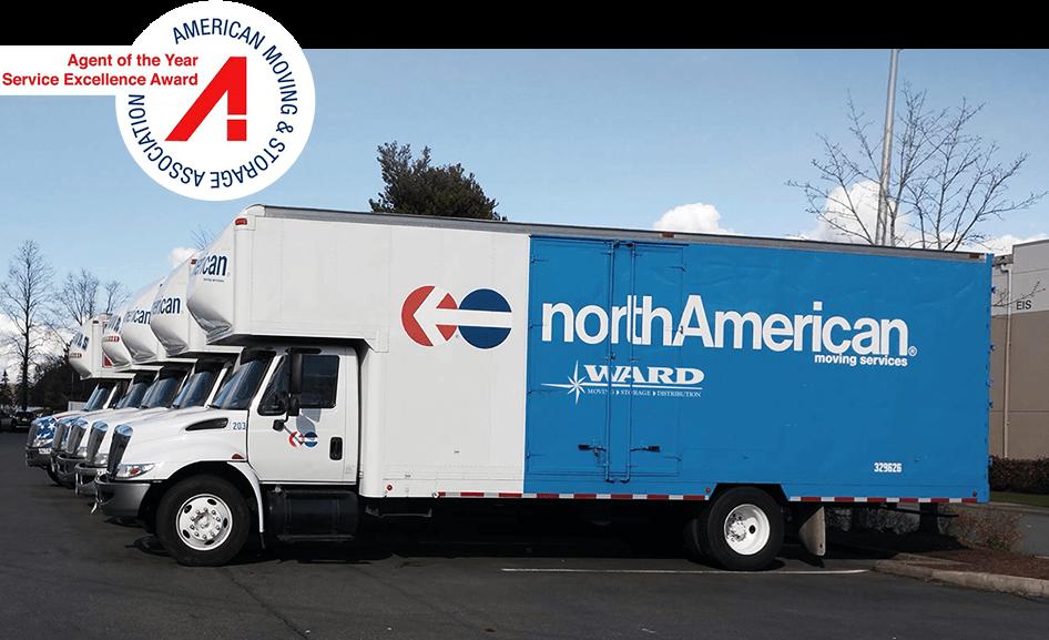 Fleet of Ward northAmerican moving trucks
