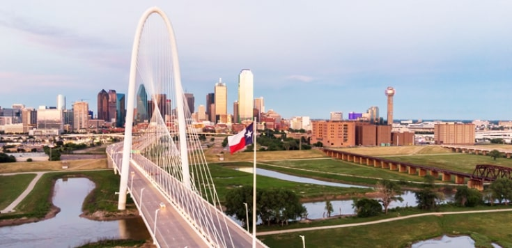 Dallas city skyline from Margaret Hunt Hill bridge