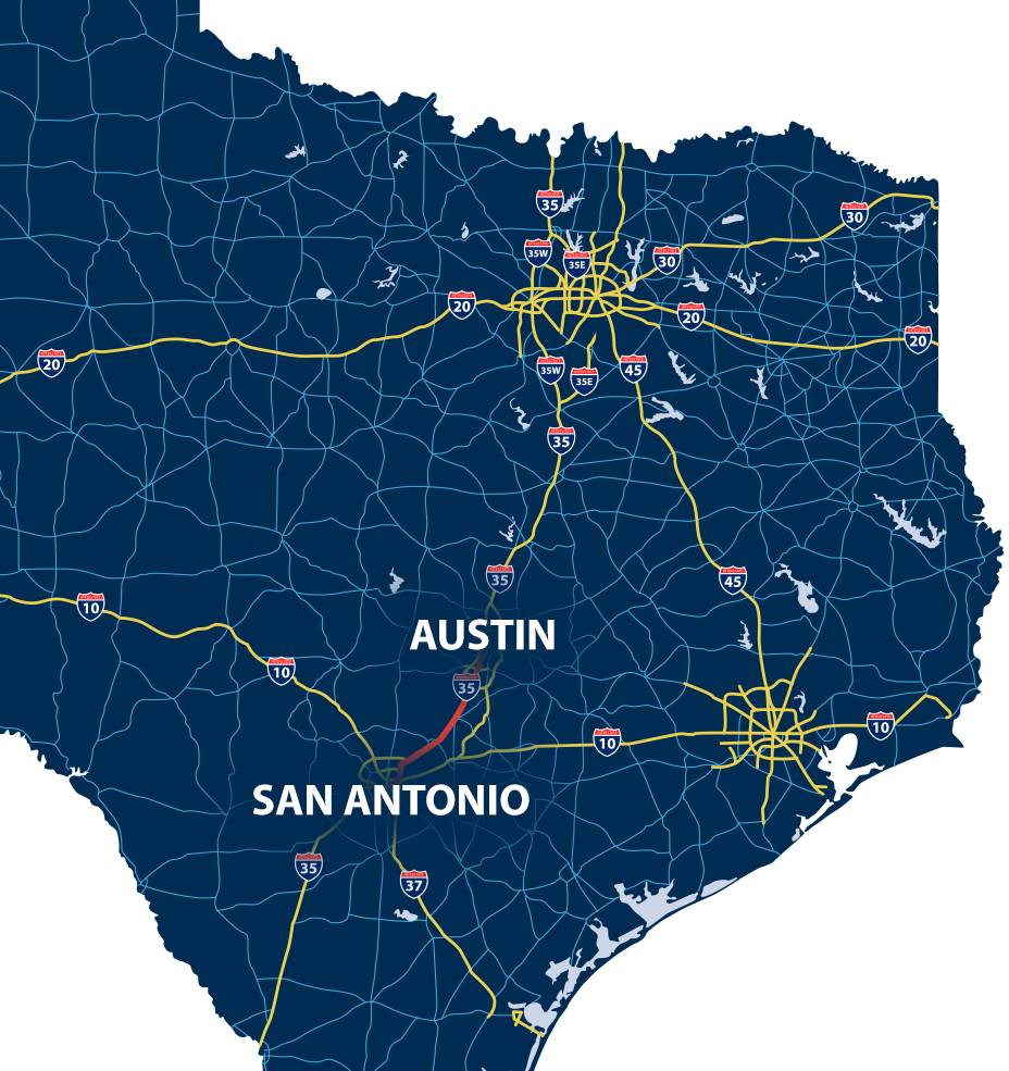 Map of San Antonio to Austin with highlighted road