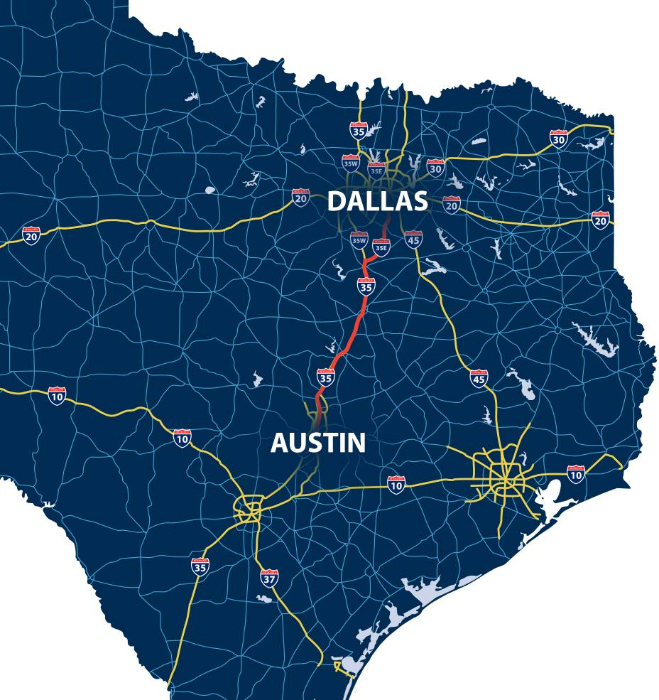 Map of Dallas to Austin with highlighted road