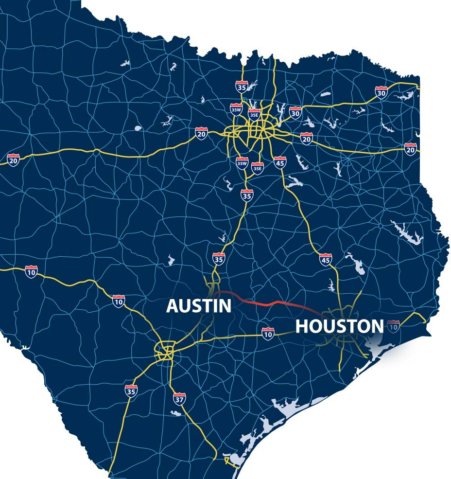 Map of Houston to Austin with highlighted road
