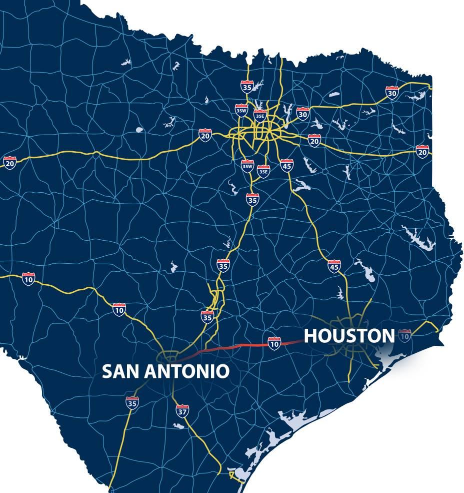 Map of San Antonio to Houston with highlighted road